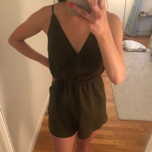 Silky olive green romper | mock wrap style top